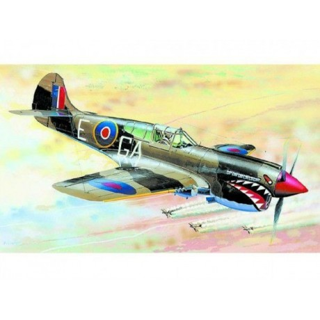 Model Curtiss P-40 K Kittyhawk MK.3 13,2x15,7cm v krabici 25x14,5x4,5cm